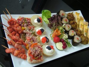 Platter of assorted canapés for a house party in Wilmslow Cheshire